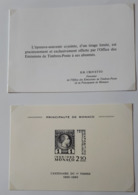 MONACO EPREUVE SOUVENIR 1985 1ER TIMBRE AVEC INVITATION NEUF - Monaco