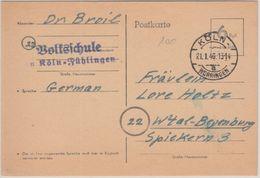 Alliierte Besetzung - 6 Pfg. Behelfs-Ganzsache Köln-Worringen 21.1.46 N.  - Germany