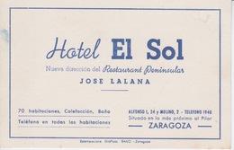 ESPAGNE - ZARAGOZA - ZARAGOSE - HOTEL EL SOL - RESTAURANT CHEZ JOSE LALANA - - Etiquetas De Hotel