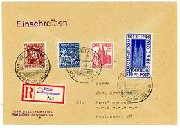 Nr. 69 - 72 FDC Einschreiben Aus Köln Nach Recklinghhausen - Michel 75 € - Bizone