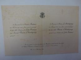 FAIRE-PART DE MARIAGE A PAU DU 23 NOVEMBRE 1889,  FAMILLES FONTAINE ET J. MARRIMPUEY,  VOIR SCAN - Huwelijksaankondigingen