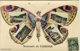 D46  CAHORS  Souvenir De CAHORS  .................... Avec Femme Papillon - Cahors