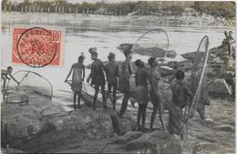 Pêcheuses Sango Dans Les Rapides, Auguste Béchaud. Carte Photo, Document D'exception. - Congo Français - Autres