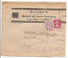1930. Blanc 10c + Semeuse 1F10 BANDE 4e Ech.Paris-Coulommiers 25.1.30 Vers Allemagne - Marcophilie (Lettres)