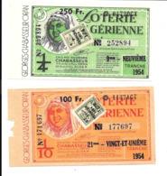 KB508 - BILLETS DE LA LOTERIE ALGERIENNE 1954 - Billets De Loterie