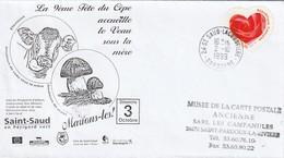 """Env. De """"St Saud Lacoussière - 24, Dordogne"""" Du 02-10-1999, Sur YT 3221 """"9e Fête Du Cèpe Et Veau Sous La Mère"""" - Poststempel (Briefe)"""
