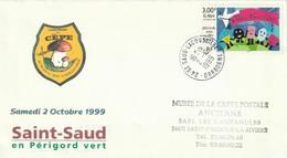 """Env. De """"St Saud Lacoussière - 24, Dordogne"""" Du 02-10-1999, Sur YT 3260 """"9e Fête Du Cèpe Et Veau Sous La Mère"""" - Poststempel (Briefe)"""