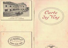 CARTE DES VINS CALVET CAVES & CHAIS DE J. CALVET & Cie BORDEAUX CAVES & CELLIERS DE J. CALVET & Cie A BEAUNE - Publicités