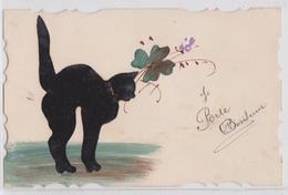 Porte-Bonheur Chat Noir Feutrine Trèfle Cpa Peinte à La Main - Katzen
