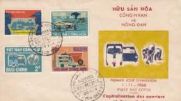 Vietnam Capitalisation Des Ouvriers Et Des Agriculteurs Saigon 1 / 11 / 1968 YT 335 / 338 .. Tracteur, Voiture, Jonques - Vietnam