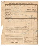 SNCF RÉCÉPISSÉ 1926 CHEMIN DE FER DU NORD → MARLE SUR SERRE GRANDE VITESSE CHAUNY AISNE (02) - BROSSERIE - Railway