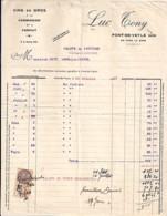 01 . AIN . FACTURE / LETTRE . PONT DE VEYLE . VINS EN GROS / LUC TONY . 1931 - 1900 – 1949