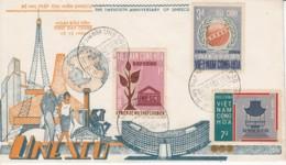 Vietnam 20 Eme Anniversaire Unesco Saigon 15 / 12 / 66 YT 301 / 303 .. Tour Eiffel, Building, Mappe Monde - Vietnam