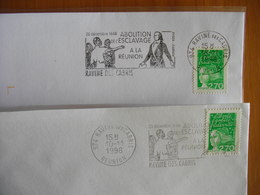 Réunion : Deux  Lettres De La Ravine Des Cabris  «Abolition De L'esclavage…» (1998), Flamme à Droite Et à Gauche - Reunion Island (1852-1975)