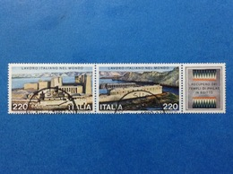 1980 ITALIA LAVORO ITALIANO NEL MONDO DITTICO CON APPENDICE FRANCOBOLLI USATI ITALY STAMPS USED - 1946-.. Republiek