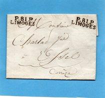 """Double Port Payé """"P 81 P."""" LIMOGES, L.A.C. Du 21/1/17. - Marcophilie (Lettres)"""