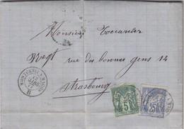 LETTRE, 1877. AMBULANT MONTCENIS A MACON B. SUR LES TIMBRES ET MAGNIFIQUE SUR LA LETTRE. St DENIS POUR STRASBOURG - Railway Post