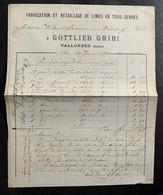60216 - Facture Gottlieb Gribi Fabrication De Lime En Tous Genres Vallorbes 28.01.1877 - Suisse