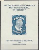 PIA - BRASILE - 1949 : Foglietto Con Francobollo Di Posta Aerea - Presidente Roosvelt   - (Yv Bf 11a) - Brazilië