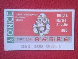 CUPÓN DE ONCE LOTTERY CIEGOS SPAIN LOTERÍA ESPAÑA ESPAGNE 1990 EL MAR THE SEA LA MER ESCAFANDRA GALEAZZI HELMET VER FOTO - Billetes De Lotería