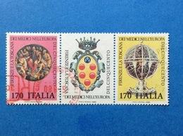 1980 ITALIA FIRENZE E LA TOSCANA DEI MEDICI TRITTICO FRANCOBOLLI USATI ITALY STAMPS USED - 1946-.. Republiek