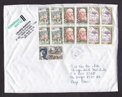 France: Parcel Fragment (cut-out) To Netherlands, 2014, 13 Stamps, Label Economy 2 Rate, Sea Mail (minor Damage) - Brieven En Documenten