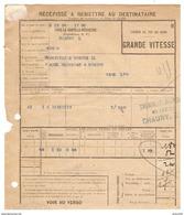 SNCF RÉCÉPISSÉ 1924 CHEMIN DE FER DU NORD PARIS LA CHAPELLE INTÉRIEURE GRANDE VITESSE → CHAUNY AISNE (02) - BISCUIT - Railway