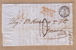 "TURQUIE , ITALIE - LETTRE DE CONSTANTINOPLE MARQUE ROUGE "" PIROSCAFI POSTALI FRANCESI  "" POUR GENES , TAXE - 1853 - Poste Maritime"
