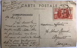 1939 A La Gloire Du Génie Seul Sur Lettre Carte  YT 423 - Oblitérés