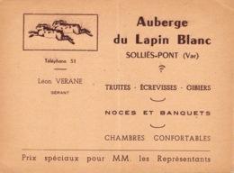 """Soliès-Pont - Carte De Visite """"Auberge Du Lapin Blanc"""" - Sollies Pont"""
