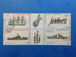 1980 ITALIA COSTRUZIONI NAVALI BLOCCO CON APPENDICE FRANCOBOLLI USATI STAMPS USED NAVI NAVE - 1946-.. Republiek