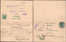 Germany - 5 + 5 Pf. GA-Postkarte, DR MiNr. P 22. Parfümerie Fabrik - Richard Gründe, Berlin 6.1.1890 - Bensheim. - Allemagne