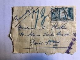 1937 Propagande Pour L'exposition Internationale De Paris  YT 336 Seul Sur Lettre Pneumatique - Francia
