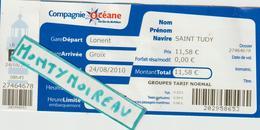 Vieux Papier : Ticket Compagnie  Océane , Gare Lorient , Groix , Navire Saint  Tudy , Morbihan - Autres