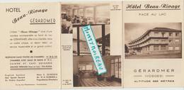 Vieux Papier :  Brochure  à GERARDMER , Vosges  :  Hotel  Beau  Rivage - Reiseprospekte