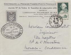 Enveloppe   Locale    FRANCE    JOURNEE  Du   TIMBRE     SAINT  ETIENNE    1949 - Dag Van De Postzegel