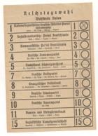 BULLETIN DE VOTE AUX ELECTIONS DU REICHSTAG CIRCONSCRITION DE BADEN / REICHSTAGWAHL WAHL BADEN     B2055 - Documents Historiques