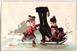 First SKATEBOARD 1875 Premier CASCADEUR  RRR Sport  6 Chromos Thème Chaussure Boot Shoe  Roll  Skating Pierrot Litho - Other