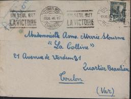 Tunisie YT 281 Guerre 39 45 CAD Tunis RP 19 XI 45 Belle Flamme Un Seul But La Victoire - Used Stamps