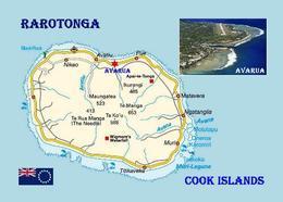 Cook Islands Rarotonga Island Map New Postcard Cookinseln Landkarte AK - Cook