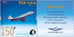 Russia. Peterspost. Legend Of Aviation, Plane TU-134, Stamp With Label (FV Price!) - 1992-.... Federation
