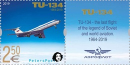 Finland. Peterspost. Legend Of Aviation, Plane TU-134, Stamp With Label (FV Price!) - Airplanes