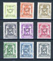 BE  PRE484 - 492   ---   Surcharge D  --  X  --  Faible Charnière  --  Etat Parfait... - Typo Precancels 1936-51 (Small Seal Of The State)