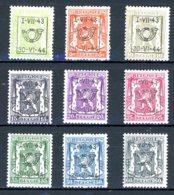 BE  PRE502 - 510   ---   Surcharge D  --  X  --  Faible Charnière  --  Etat Parfait... - Typo Precancels 1936-51 (Small Seal Of The State)