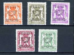 BE  PRE589 - 593   ---   Surcharge D  --  XX  --  Etat Parfait... - Typo Precancels 1936-51 (Small Seal Of The State)