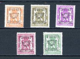 BE  PRE594 - 598   ---   Surcharge D  --  XX  --  Etat Parfait... - Typo Precancels 1936-51 (Small Seal Of The State)