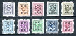 BE  PRE676 - 685   ---   Surcharge E Sur Lion Héraldique   --  XX  --  Etat Parfait... - Typo Precancels 1936-51 (Small Seal Of The State)