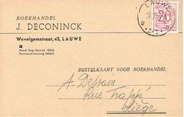 Postkaart Publicitaire LAUWE 1954 - J. DECONINCK - Boekhandel - Menen