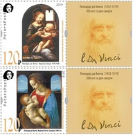 Russia. Peterspost. Leonardo Da Vinci. 500 Years From The Date Of Death, Set Of 2 Stamps With Labels (FV Price!) - Madonna