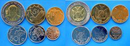 NAMIBIA  SERIE 6 PZ 1993   2010 CON BIMETALLICA 10$  5$  1$  50-10-5- CENT FDC UNC. - Namibia